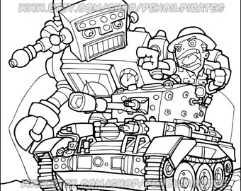 Robot coloring book   Etsy