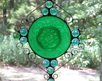 Handmade Stained Glass Suncatcher - Vintage Plate, Light Teal and Aqua Glass Nuggets, and Wire Curls