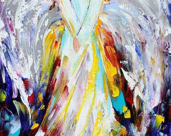 "Angel of Hope and Light 18"" x 36"" Giclee Print on canvas made from image of Original painting by Karen Tarlton fine art"