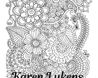 Blissful, 1 Adult Coloring Book Page, Printable Instant Download, Karen Lukens