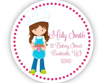 Personalized Baking Address Labels - Pink Polka Dots, Little Baker Girl Name Stickers - Round Sticker Tags - Personalized Address Label