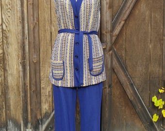Vintage 70s Blue and Yellow Lounge Outfit, Medium