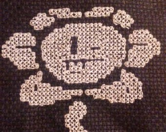 Flowey Undertale cross-stitch embroidery bookmark