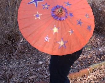 Parasol Orange with Purple Gold Stars Parasol