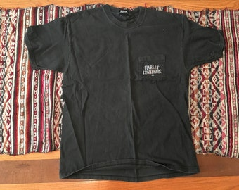 Vintage Harley Davidson motorcycle, biker pocket t-shirt, faded black eagle shirt, Pennsylvania large XL