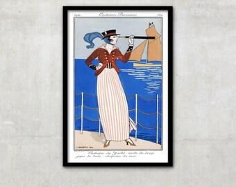 """Art Deco print vintage style fashion illustration, """"Costume de Yacht"""" by George Barbier, IL057."""