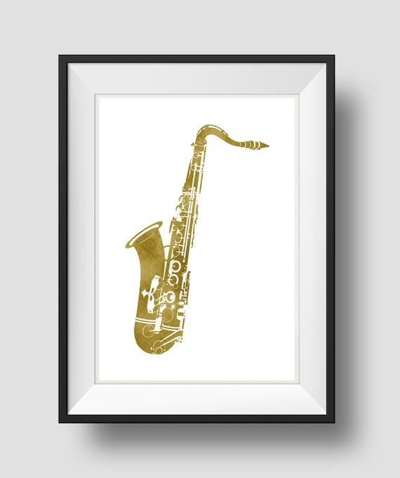 Saxophone Art Gold Saxophone Jazz Art Home Wall Art