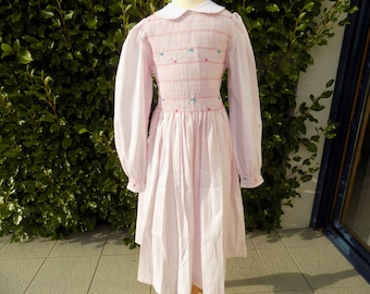 Eleven Stanger things, smocked dress for girl, cotton, pink, embroidered dress hand made peter pan collar, hand smocked dress, costume, Halloween