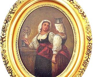 Vintage Fine Art Oil Painting Portrait in Ornate Oval Frame