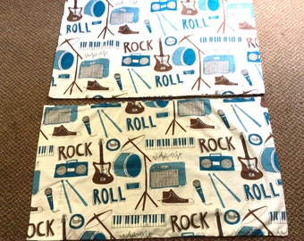 Vintage Pillowcases-Rock and Roll Print