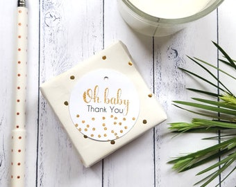 Gold Glitter Confetti Oh Baby Thank you Gift Tags | Personalised Baby Shower Favour Tags x 20 | From My Shower To Yours