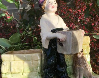 Vintage Boy and Circus Monkey Double Planter Italy