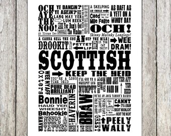 Boyfriend gift, husband gift, gifts for men, gifts for women, Traditional Scottish Sayings Giclee Print/Canvas