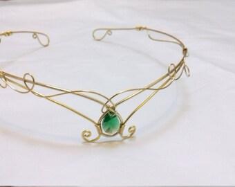 Gold Diadem Kopfschmuck, Flasche grün Swarovski Elemente, Elfen Stirn reif