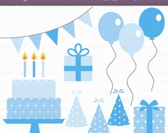 Birthday Party in Blue Digital Art Set Clipart Commercial Use Clip Art INSTANT DOWNLOAD Birthday Clipart Party Clipart