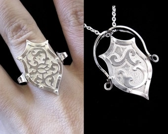 Sterling Silver Armor Flip Ring / Flip Pendant with Personalised Initial and Rose - SHIELD ETERNAL
