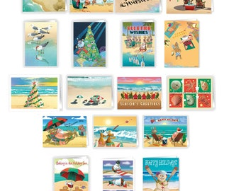 Ultimate Beach Christmas Card Variety Pack - 36 Beach Cards & Envelopes - 18 Different Beach Designs - 94