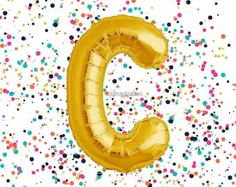 """Gold 40"""" Letter Balloon /""""C"""" Mylar Balloon / Metallic Gold Letter Balloons / Gold Number Balloon / Alphabet Letter Balloon / Custom Balloons"""