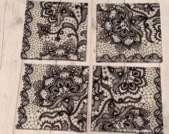 Ceramic Tile Coasters Set of 4 Handmade