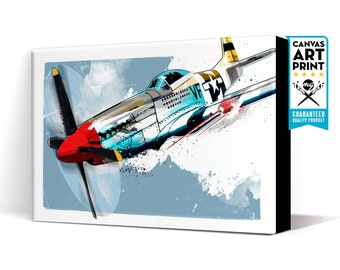 Airplane Art - P-51 MUSTANG - Aviation Art, Canvas Print, WWII vintage Airplane Decor, Aviation Gift, Pilot gift, Aviation Decor, Canvas Art