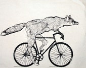 items similar to fox on a bike tote natural cotton bag