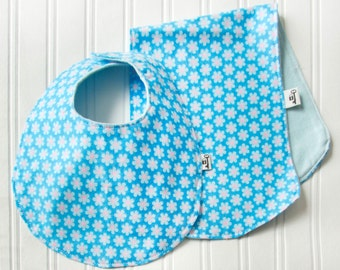 """Bib & Burp Cloth Set, Flannel, """"Flower Power"""" in Blue, Baby Blue Flower with Blue Backing , Unisex Baby, Baby Boy, Baby Gift"""
