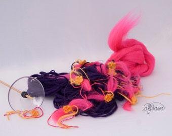 handspun flower artyarn violet, orange