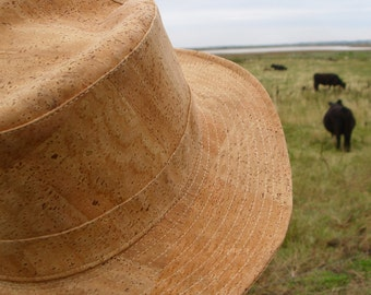 Cowboy hat made of cork fabric from natural cork.