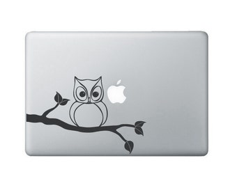 Owl Laptop Decal - Owl on a branch Macbook sticker - Owl Decal