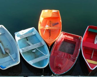 Lake House Decor, Colorful Boat Photography, Row Boat Pictures, Nautical, Coastal Decor, Orange Blue Red, Boat Pictures, Beach Cottage Art