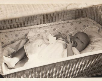 Original Vintage Photograph Snapshot Baby With Toy in Basket 1930s