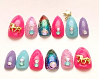 Stiletto nails, unicorn, nail dangling, multi color nail, nail foil, metallic nail, nail charm, neon pink, rainbow, Japanese 3D nails