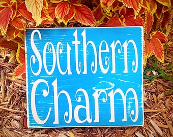 10x8 Southern Charm (Choose Color) Shabby Chic Country Western Sign