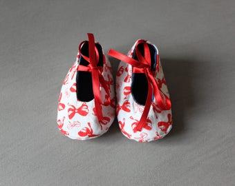 Reversible baby shoes, cotton and jeans