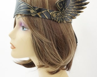Valkyrie, Viking, Leather Crown, Black and gold Angel Wing Crown, Circlet, Mardi Gras Costume, Theater Prop, Accessory, LARP garb