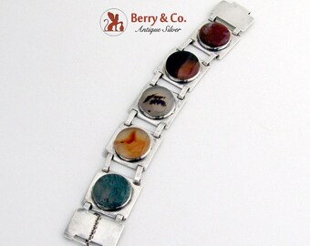SaLe! sALe! Modernist Chunky Bracelet Multi Colored Agate Sterling Silver
