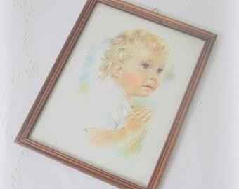 Lovely Vintage Child Portret in Wooden Frame Under Glass