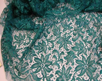 "No. 300 Metallicized Deep Turquoise French Chantilly Lace; 17"" x 5.30 Yds Dbl Scallop"