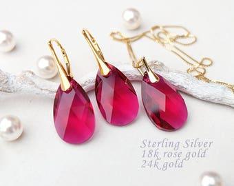 Ruby jewelry set, Ruby earrings, Swarovski earrings, Ruby pendant necklace, Bridesmaid gift, Teardrop crystal earrings, Rose gold earrings
