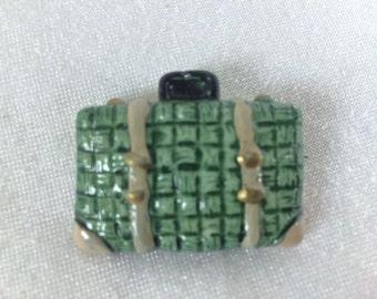 Vintage Green Suitcase Brooch Vintage Luggage Brooch Costume Jewelry Vintage Jewelry