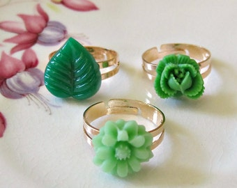 Children's Jewelry Ring Set - Green Adjustable Jewellery Copper - Botanical Floral Flower Leaf