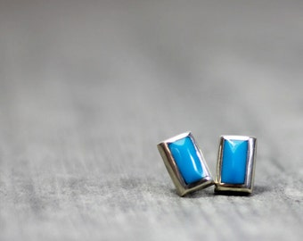 Turquoise | Inlay | Rectangular | Post | Stering Silver | Earrings