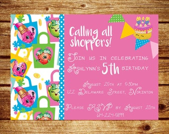 Shopkins invitation, digital invitation, printable invite, birthday, party