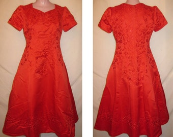 T-length red gown #44
