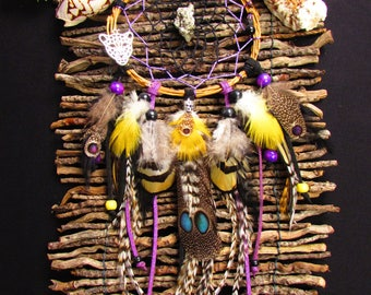 Dream catcher, pyrite, Panther, wood, pheasant and Parrot feathers