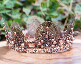 Bronze Jeweled Crown- Rhinestone Crown- Fairytale Wedding- Medieval Crown- Wedding Crown- Fairy Crown- Renaissance Crown- Fairy Costume