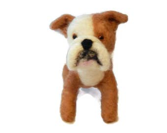 Personalised Dog Sculpture, Needle Felted Bulldog, Crossbreed or any breed of Cat, Dog or Horse of Your Choice Made To Order