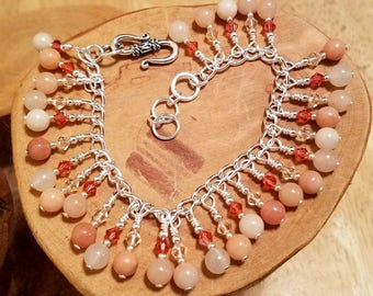 Peach Bellini gemstone and Swarovski crystal cha cha chain bracelet ... and it's adjustable too!