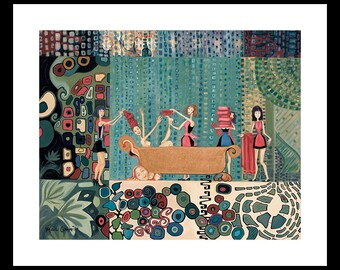 Bath Room Wall Art, Bath Room Wall Decor, Funny, Gustav Klimt, Whimsical, Dressing Room Art, Art with Humor, Wall Art, Funny