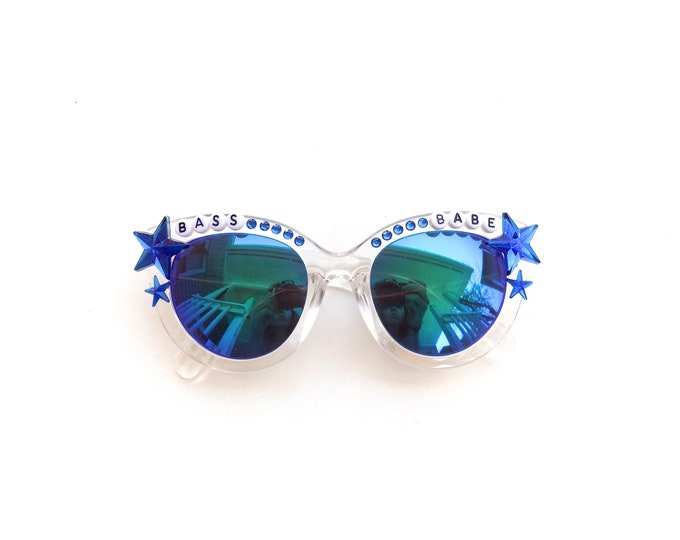 """Bassnectar """"Bass Babe"""" hand decorated cateye sunglasses, super funky festival shades for bassheads, psychedelic rave glasses"""